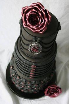 Black wedding cake dream wedding cakes, idea, black weddings, gothic wedding, food, gothic cake, roses, goth wedding, amaz cake
