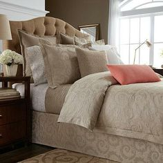 Update your bed in timeless style with the Ashby duvet cover by Wamsutta. This luxurious bedding blends old world charm and modern elegance with a beautiful scroll design featured on soft and richly textured cotton matelassé.