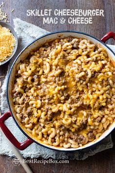 Easy skillet cheeseburger mac and cheese recipe that's like homemade hamburger helper recipe but even better! It's the best recipe for cheeseburger pasta