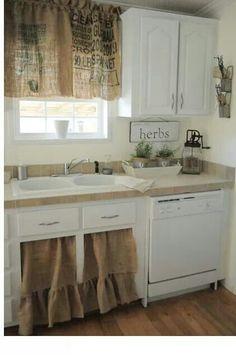 Burlap curtains for kitchen idea...