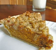 Pumpkin Pie with Maple Crumb Topping - This simple pumpkin pie recipe is easy to make, but the flavor has real depth and texture. The result is a perfect mix of sweet and silky custard with a crunchy topping.