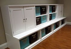 playroom storage - pottery barn knockoff