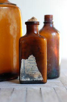 Vintage Amber Bottle Collection $14.00 #bottles #glass #amber