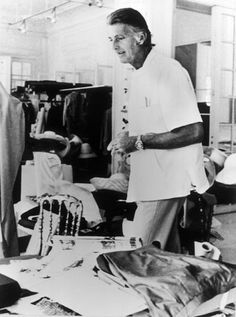 Givenchy in the atelier in 1983, soon after celebrating 30 years in couture.