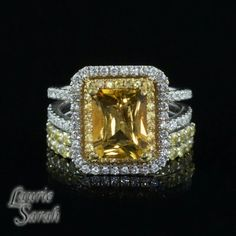 Yellow Sapphire, Diamond & Citrine Engagement Ring Cut Citrine, Diamonds Citrine, Gemstone Rings, Citrine Engagement Rings