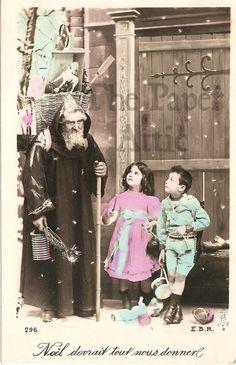 Father Christmas Santa Claus Children Antique Vintage French Photo Postcard | eBay