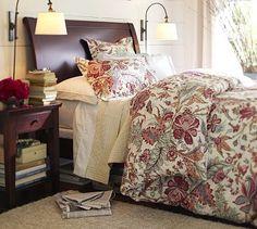 Master bedroom  Valencia II Sleigh Bed & Tall Dresser, Queen, Mahogany stain #potterybarn