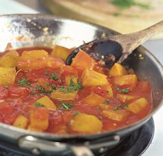 Braised Pumpkin with Tomatoes and Fresh Herbs. Follow this link to read the recipe http://www.vegetablegardener.com/item/5520/braised-pumpkin-with-tomatoes-and-fresh-herbs