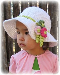 PATTERN - Spring Garden - a spring/summer hat with flowers in 6 sizes (Infant - Adult S)
