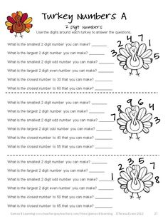 Turkey Numbers math puzzles in Thanksgiving Math Games, Puzzles and Brain Teasers is a collection of Thanksgiving Math from Games 4 Learning. $