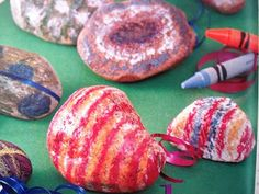 Color rocks with crayons. Place the rocks on a foil lined cookie sheet and bake them for 15 minutes at 200 degrees to melt the colors. Let them cool and then have the children grab an old sock, turn it inside out and let them rub the rock to polish it up and make it shine.