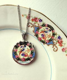 Broken china jewelry necklace pendant antique Victorian bird of paradise china made from a broken plate