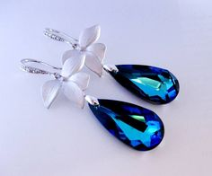Blue Earrings Orchid Silver CZ Peacock Wedding Jewelry Bridal Br $48.99