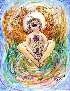 A beautiful birthing mother throws her head back with joy. Her baby arrives with the same joy. The two emanate swirls of life energy  High Harvest Day. $30.00, via Etsy.