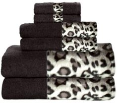 Snow Leopard & Black Bordering Africa Bath Towels  $11.00-$27.00 SALE $10.00-$24.00 towel 11002700, leopard print, 11002700 sale, bath towel, border africa, africa bath, sale 10002400, snow leopard, leopard bathroom