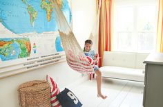 indoor hammock, bedroom, kid