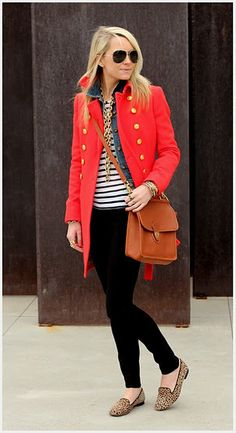 Love the pattern combos and jacket style. Put together but eclectic.