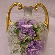 Rare, Huge, & Handsome Limoges  Muscle Vase w/ Splendid Draping Lavender & White Wisteria Flow