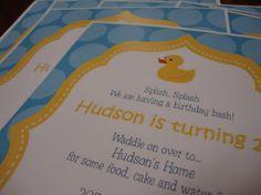 Rubber Ducky Birthday Invitation by CustomParty4U on Etsy es 1st, 1st bday, rubber ducki, birthdays, ducki birthday, birthday idea, birthday invitations, 1st birthday, 2nd birthday