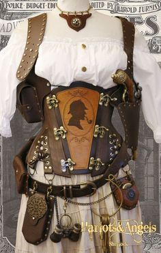 Leather Corset with Sherlock Cameo, DieselSteamGypsy