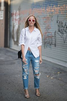 denim + button down