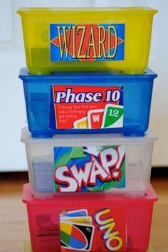 organizing ideas, organ idea, the game, storage boxes, game organization, organize games, card games, cards, card boxes