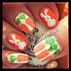 Easter Bunny with Carrots nail art!