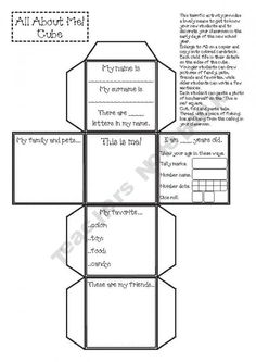 all about me cube. - Re-pinned by #PediaStaff.  Visit http://ht.ly/63sNt for all our pediatric therapy pins