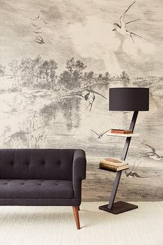 This illustration wall mural features a monochromatic print in a classic style. The design features a lagoon with a medley of birds. Comes in 5 panels that measures 7-ft 6-in by 9-ft 2-in when assembled.