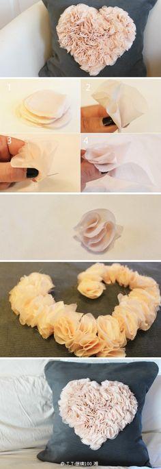heart crafts, fabric flowers, diy crafts, craft idea, cushion, diy idea, throw pillow, pillow crafts, diy pillows