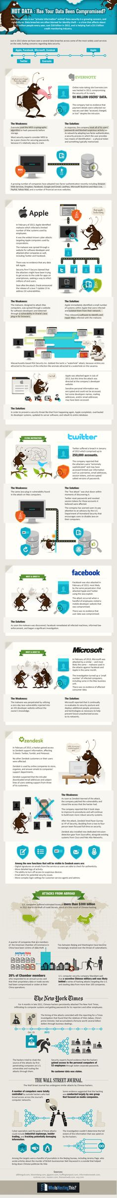 Has Your Data Been Compromised - The Biggest #Security Breaches of 2013 - #infographic #technology december, twitter, compromis, social media, data, comput, infograph, apples, blog