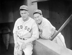 (l to r:) Boston Red Sox outfielder Fabian Gaffke and Chicago White Sox outfielder Mule Haas in 1937.