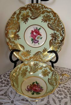 Vintage Paragon Gold and Mint Green English Bone China