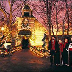Christmas tree lights, carolers, & Silver Dollar City