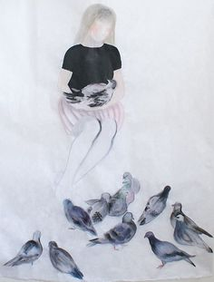 Marina Perez Simao / Série Oiseaux 2, 2009, fusain, crayon, aquarelle et acrilyque sur papier coréen
