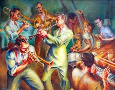 """""""The Jazz Musicians"""" by Frank Nelson Ashley (1920 – 2007)"""