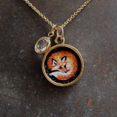 Original Oil Hand Painted Charm Pendant Necklace by CharmedbyHeidi, $36.00