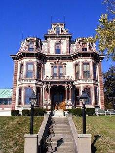 the Gaar Mansion, home of the founders of Gaar-Scott and Company, the leading manufacturer of threshing machines and steam engines from 1842 to 1911. Spring Grove, IN, US.