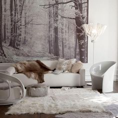 decor, interior, white living, living rooms, wall murals, winter wonderland, fur, rugs, live room
