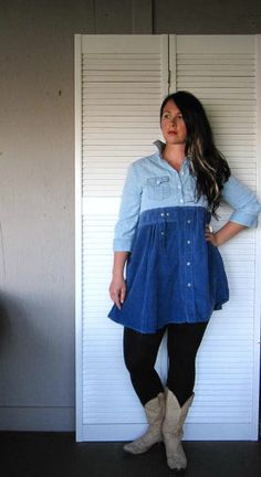 15% off Eco upcycled clothing Funky denim Baby doll dress Bohemian dress Romantic Artsy dress cowgirl farm girl Casual dress medium