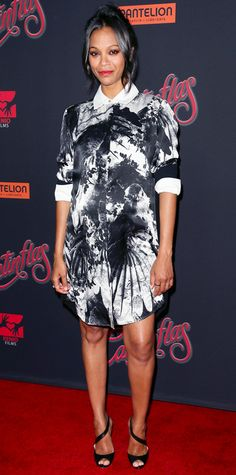 Zoe Saldana glowed at the Los Angeles premiere of Cantinflas in a black-and-white printed Preen shirtdress, with rings by Norman Silverman and Dana Rebecca Designs, and black asymmetric-strap heels. #InStyle