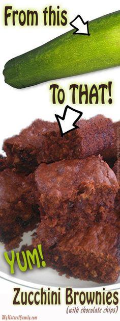 Healthy Zucchini Brownie Recipe with Chocolate Chips - MyNaturalFamily.com #zucchini #brownie #recipe