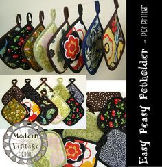 PDF Pattern and Tutorial - The EASY PEASY Potholder - Instant Download Sewing Pattern. $3.00, via Etsy.