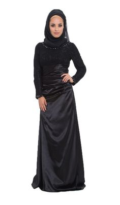 Black Lace and Satin Islamic Formal Long Dress with Hijab | Islamic Dresses at Artizara.com