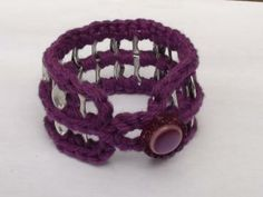Crocheted Purple Cotton Pop Tab Button Bangle Bracelet by PopTabilicious $9.95