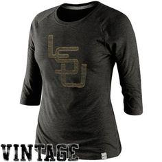 Nike LSU Tigers College Vault Vintage Logo Raglan Tri-Blend T-Shirt - Charcoal