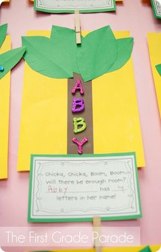chicka chicka, name crafts, boom boom, letter recognition, chicka boom, first week activities, first day activities, name activities, first grade