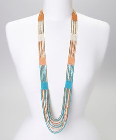 Teal & Gold Beaded Multistrand Necklace