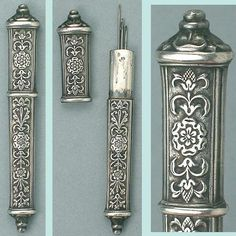 Antique French Silver Needle Case w/ Floral Design; Circa 1890
