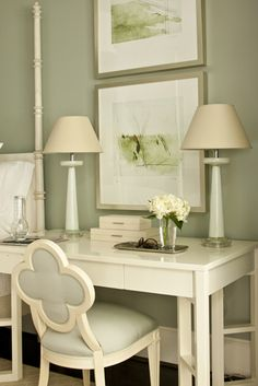 bedrooms - sage green walls mint green lamps ivory glossy lacquer desk ivory Suzanne Kasler quatrefoil chair sage green linen ivory lacquer boxes I like the wall color